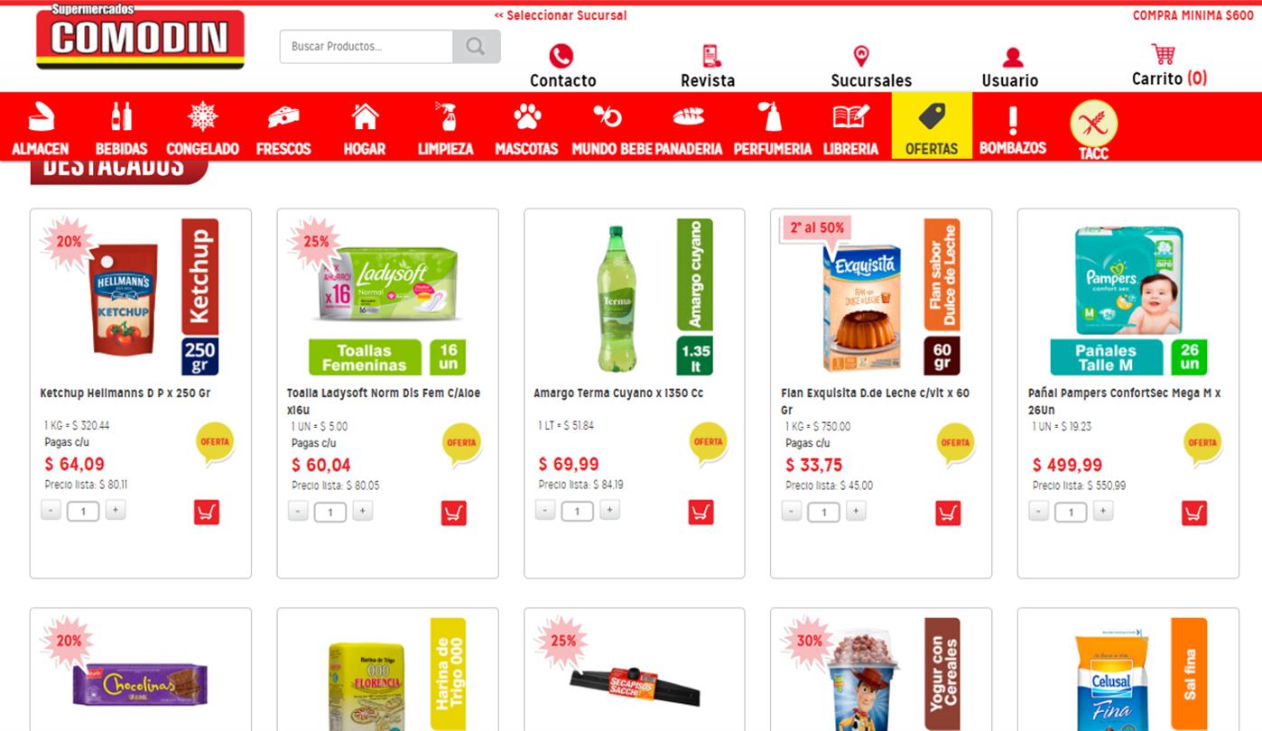 Imagen de Comodin Supermercados, sitio web.