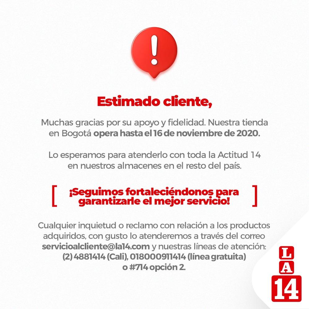 Imagen de Facebook La 14, S.A. Cierre de Tienda en Bogotá.